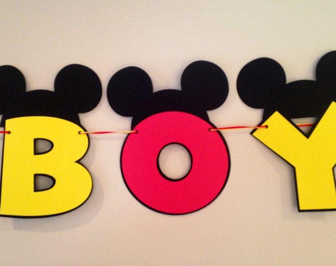Es A niño Mickey Mouse bebé ducha Banner Mickey Mouse bandera bebé ducha bandera muchacho bebé Banner Mickey Mouse es un muchacho bebé ducha bandera