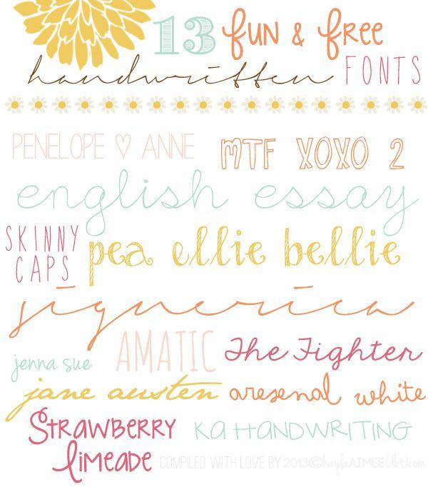 13 Fun & Free Handwritten Fonts