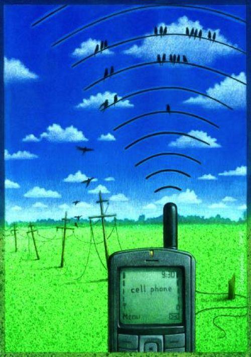 cell_phone_46145.jpg (500×710) Le onde elettromagnetiche dei cellulari come sostegno per gli uccellini… non sono proprio la stessa cosa dei vecchi pali della luce…