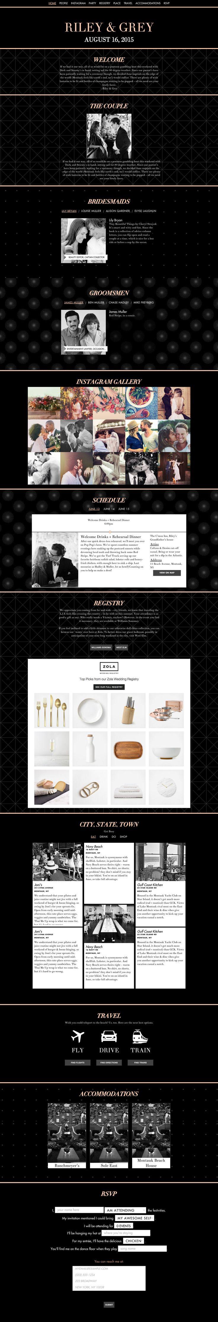 """Copper Tone"" black wedding website design by Riley & Grey (graphic design, wedding planning, wedding website example)"