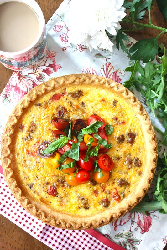 ValSoCal: Spicy Sausage, Peppers and Onion Quiche