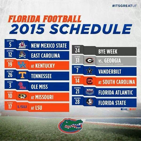 Gator Football Schedule 2015 Go Gators