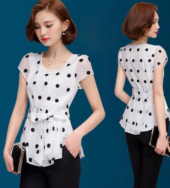 Elegant Short Sleeve Dot Polka Shirts Women Slim Fit Chiffon Blouse Casual Tops
