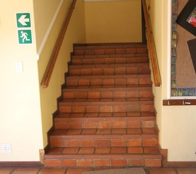 The staircase laid with Lanes Ceramics tiles at Parklands college