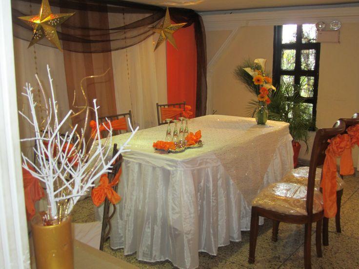 Orange/Brown / Golden Wedding / Boda Civil Naranja +Marron + Dorado Creaciones Reina Sofia Ciudad Ojeda Edo. Zulia
