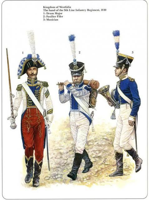 Napoleon German Allies. Westfalia and Kleve-Berg The band of the 9th Line Infantry Regiment 1810 Drum major, Fusilier fifer,musician