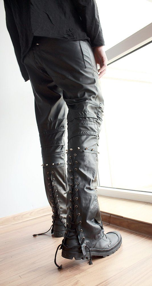Image of Genuine Leather Studded Pants