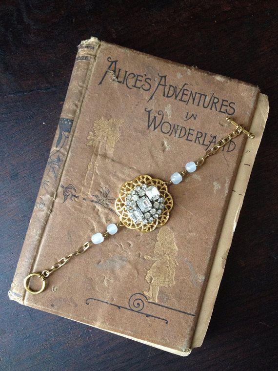 Upcycled Vintage Rhinestone Bracelet/ Bridal Jewelry/ Bridal Bracelet/ Vintage Assemblage Jewelry  on Etsy, $45.00