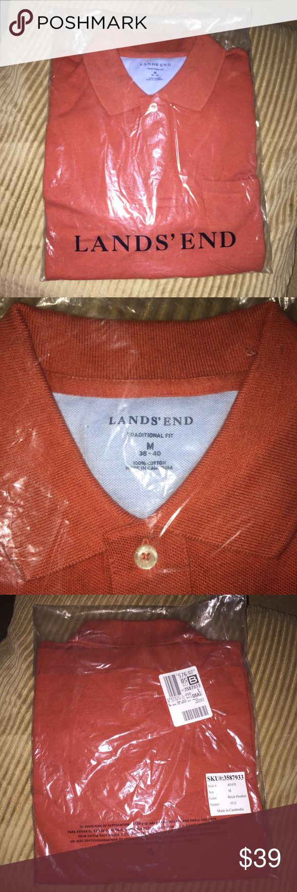 NEW! Men's Lands End Pocket Polo Shirt Size Medium JUST listed! Brand New in the package. Ordered online. Men's size medium. Color is Brick Heather. Lands End Polo shirt with a pocket. Please, no trades or Off Poshmark transactions. Unless there is a red sold sign on the bottom corner of this listing, this item is 'still available'. Thank You for checking out my closet! Lands' End Shirts Polos