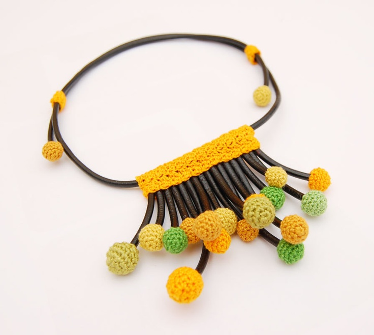 MUGURI - Crochet Necklace Summer Fashion Contemporary Jewerly Yellow Green Cotton With Adjustable Leather Cord Bright June Smart Casual. $48.00, via Etsy.