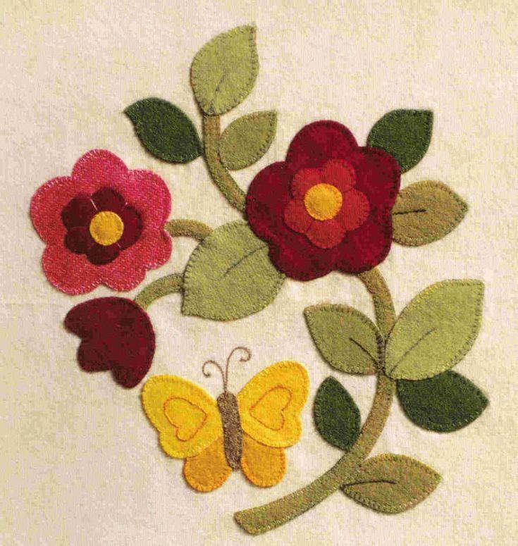 Appliqué-Brandywine Designs- flowers with butterflies. Wool felt sample.