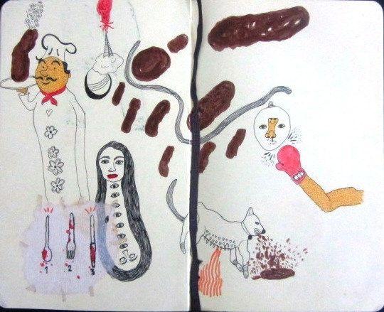 Artista: Ricardo Muñoz Izquierdo, Libreta dibujos 7, dibujos en hoja de libreta, 13,5x20  cm, + PA.  Artist: Ricardo Muñoz Izquierdo, drawings Book 7 drawings leaf notebook, 13,5x20 cm, + PA .