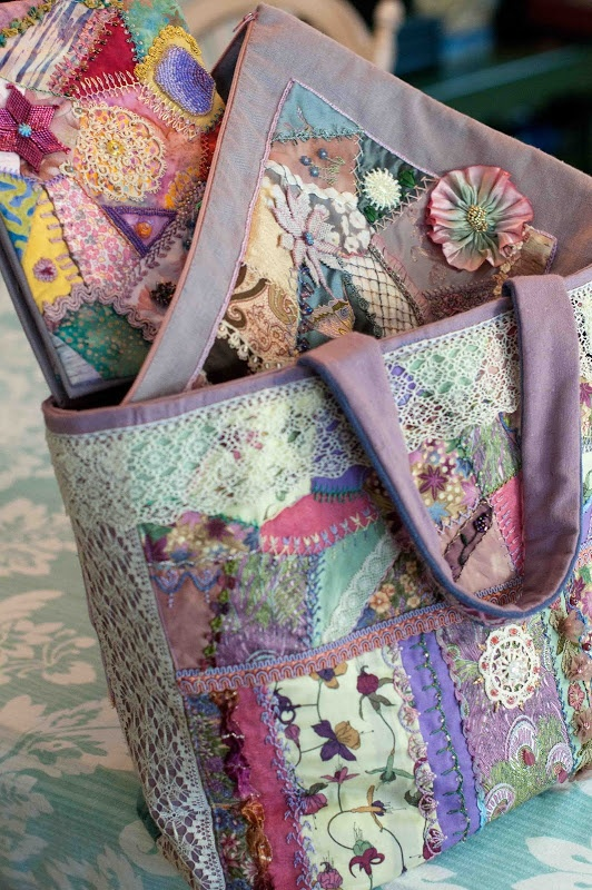 Quilting Patterns For Bags : 8 best images about Crazy quilts on Pinterest Beautiful, Lace and Quilt