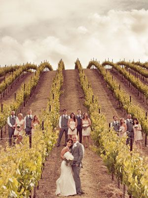 This is amazing as well! Love the groomsmen in vest and tie! I don't have a vineyard to do this with...maybe corn would work???