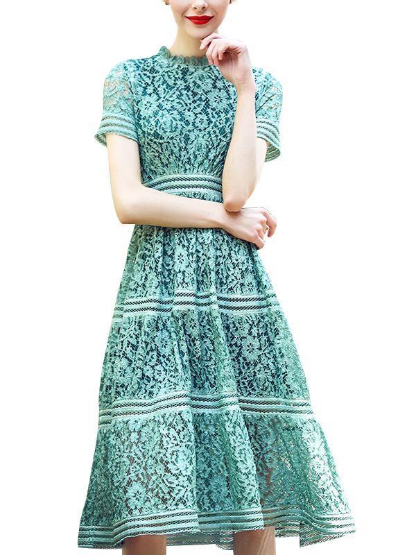 a5054de235 Green Hollow Out Lace Swing Midi Dress