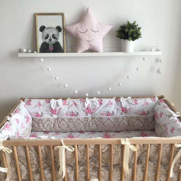 Tufted Floral Baby Crib Bumper in Pink & Brown   Baby ...