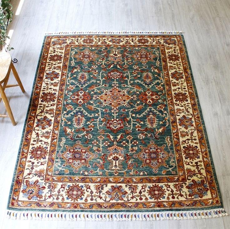 コーカサス・シルヴァンデザイン手織りカーペット198×147cm幾何学モチーフの草木染トルコじゅうたん/センターラグサイズ
