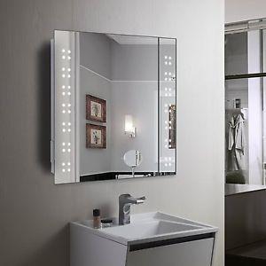 Led Illuminated Bathroom Cabinet Mirror with Shaver Socket Demister Shelves