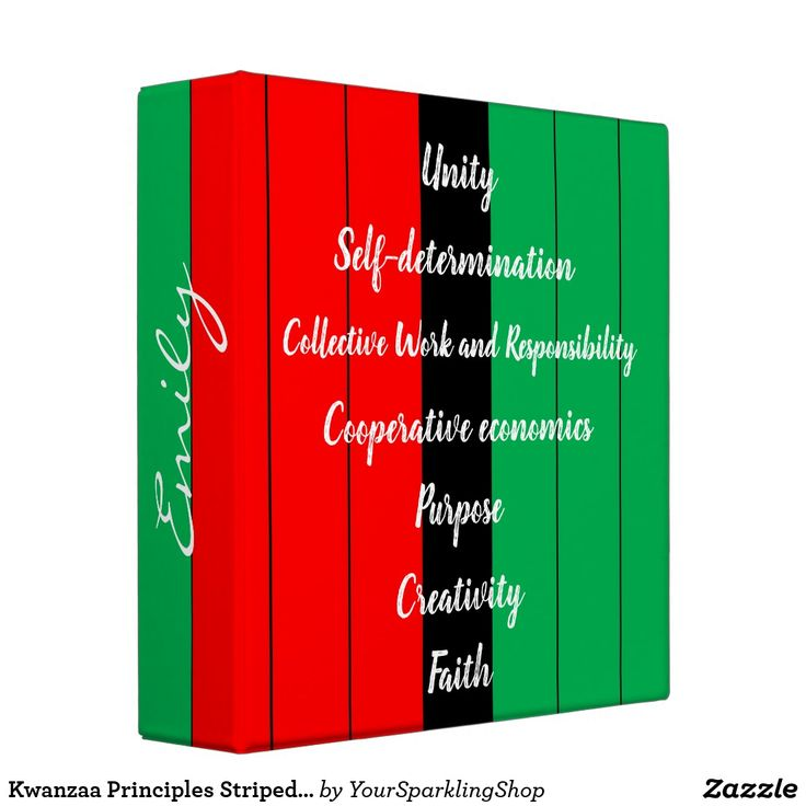 Kwanzaa Principles Striped Pattern Red Black Green 3 Ring Binder | Zazzle.com