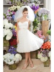 Tulle Strapless Sweetheart Draped Bodice Knee-Length Wedding Dress