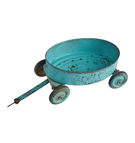Robin's Egg Blue Tin Toy Wagon