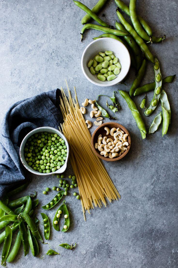 Creamy Cashew-Miso Pasta with Peas and Fava Beans {gluten-free, vegan option}