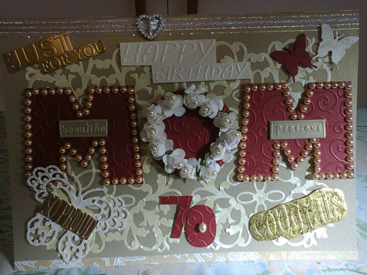Personalized 70th Mom Burgundy, Golds And Cream Birthday Card