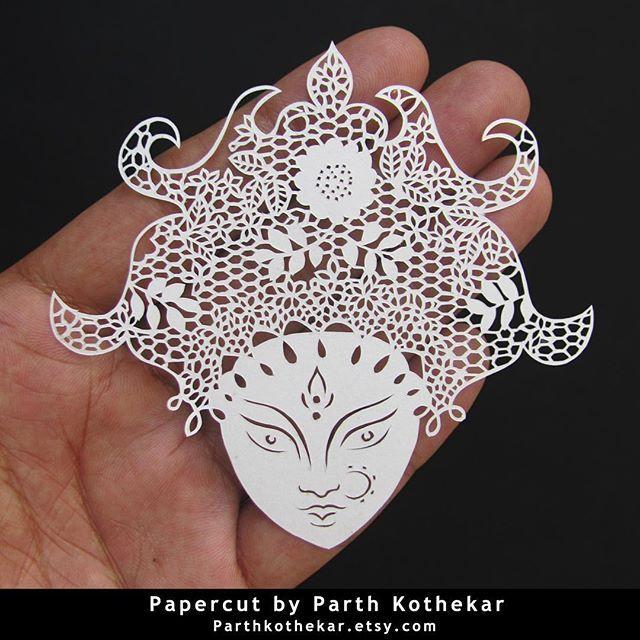 #intricate #miniature #papercut #paper #craft #paperart #handcut #handmade #papercutting #papercuts #illustration #follow #etsy #shop #parthkothekar #etsyseller #etsyshop #goddess #durga #durgapuja #maadurga #durgapujo