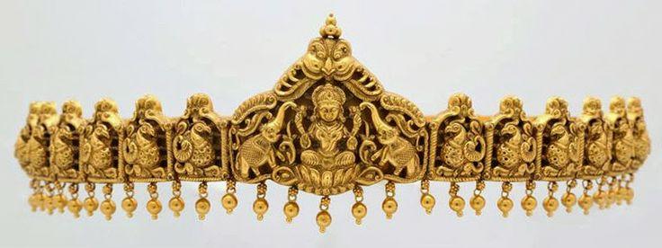 Antique waist belt with lakshmi pendant