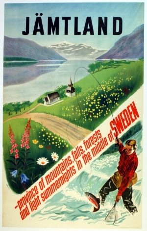 Jamtland Salmon Fly Fishing, 1950s - original vintage poster by Eleman listed on AntikBar.co.uk