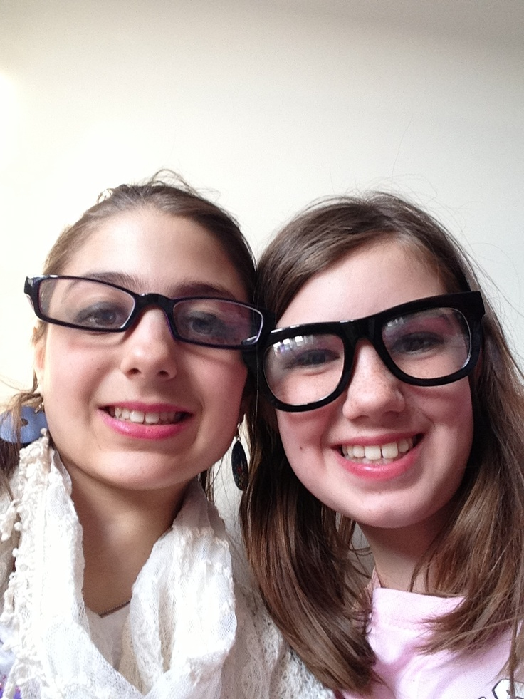 Me in real glasses and maddy with fake!!!