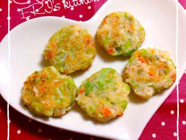 離乳食♡ふわふわ豆腐のお好み焼きの画像