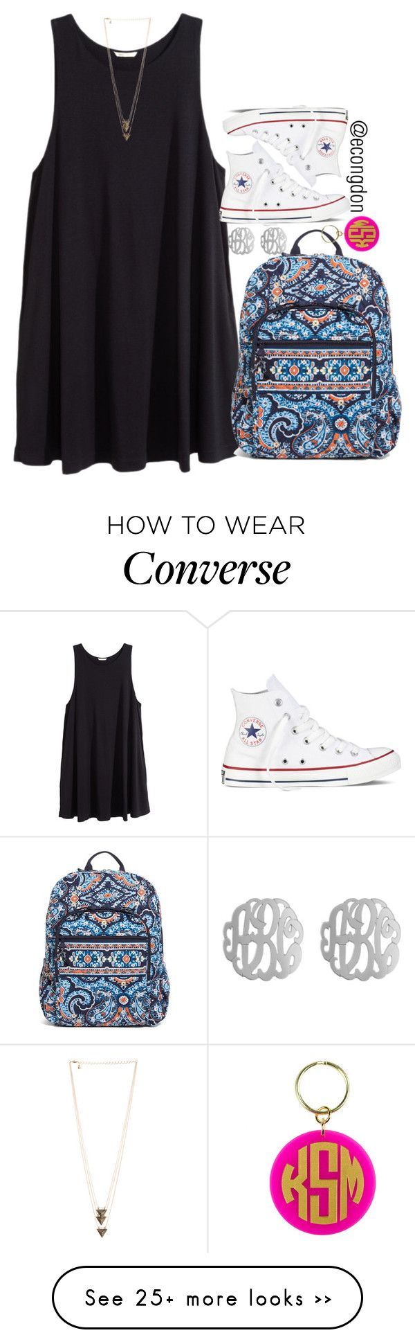 """""""day ✋ of #365happydays"""" by econgdon on Polyvore featuring H&M, Vera Bradley, Initial Reaction, Converse and happy"""