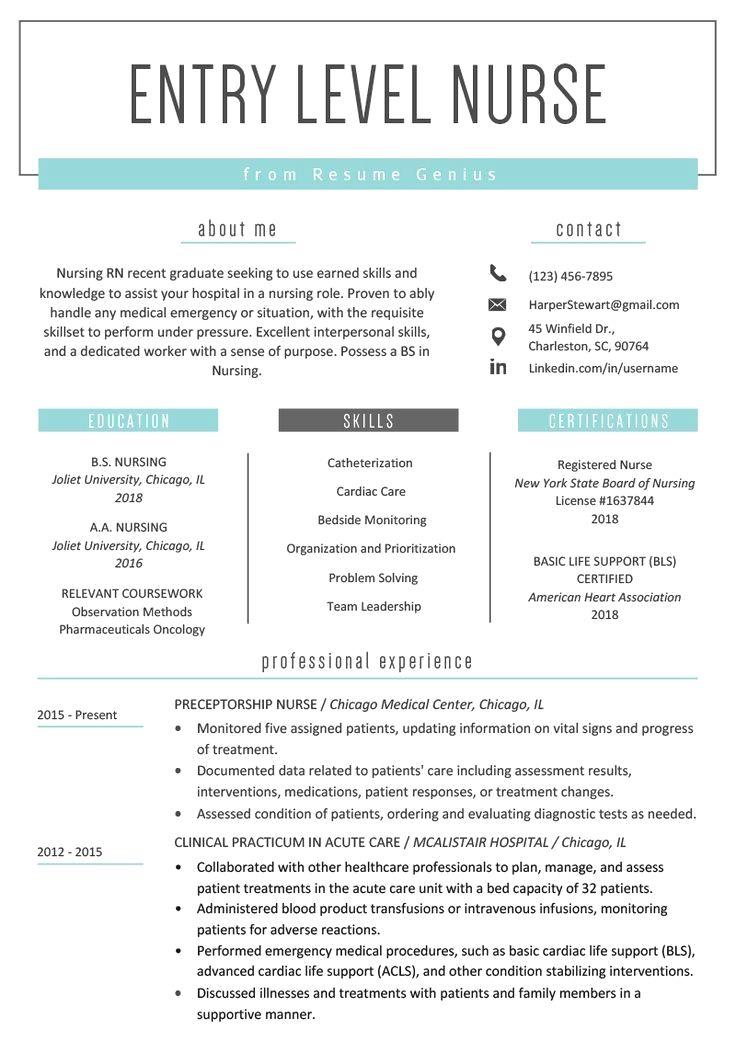 Resume Example With Headshot Photo Cover Letter 1 Page Word Resume Design Diy Cv Examp Nursing Resume Template Registered Nurse Resume Student Nurse Resume