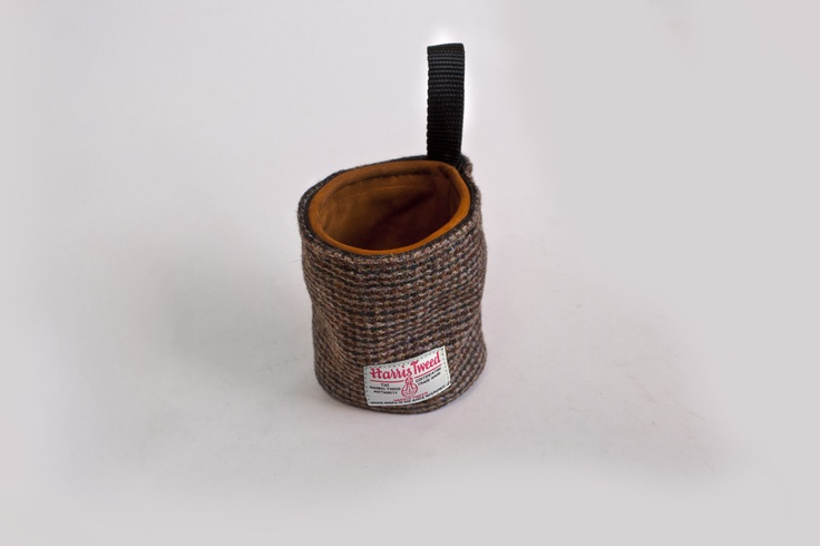 Harris Tweed and leather suede chalk bag for rock climbing. Thinking of making these for sale.