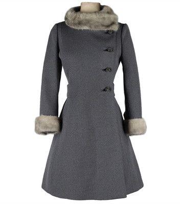 Vintage 1960's Gray Wool Mink Trimmed Coat