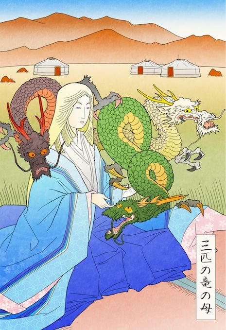 """What if Game of Thrones was set in Feudal Japan?"" By Seiji on Imgur / ""Mother of Dragons""—""Danaerys wears traditional Heian-period royal clothing and is seated on the Mongolian Steppes, a fitting analogy for the Dothraki Sea, far from Westeros"