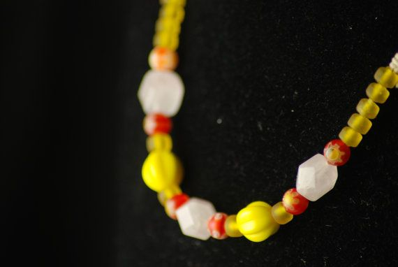 Necklace THORA - Viking reproduction beads - Rose quartz and Glass Replica beads - Pink - Red - Yellow- Cheerful - Treasure - Iron age