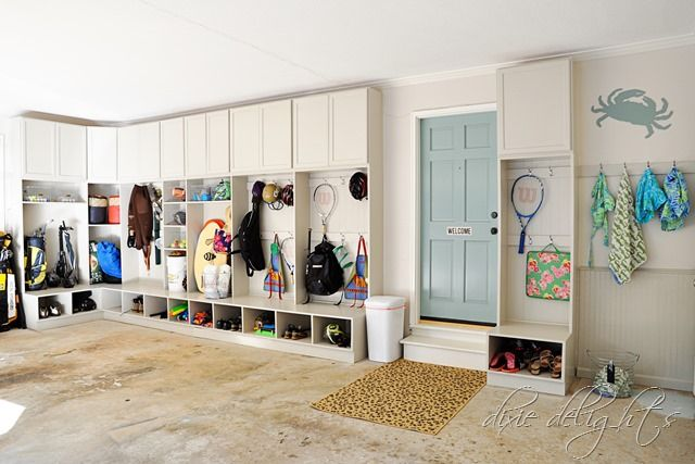 Garage makeover. Great way to keep smelly sports equipment organized and out of the house.