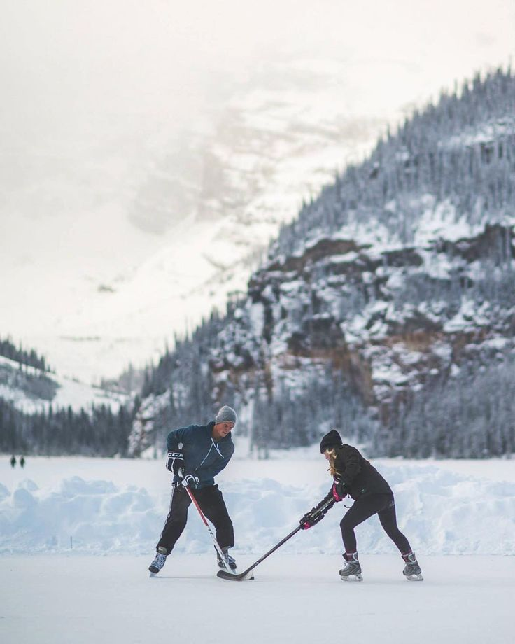 Pond hockey in the middle of the Rockies one of the most incredible experiences ever! #explorealberta by erikmcr