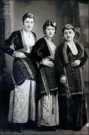 Traditional festive costumes of the Greek-Orthodox inhabitants from the Pontos region (Black Sea coast and hinterland).  Late-Ottoman era, urban style, early 20th century.  They were expelled from Turkey in 1923, in exchange for Muslim populations from Greece.  At this occasion Turkey lost a lot of cultural and economic potential, and the expelled lost their homeland.
