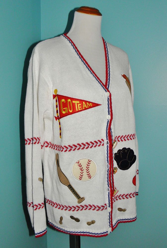 Womens Baseball Sweater Quacker Factory Cardigan M Take Me Out to
