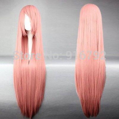 Оптовая YF & Q>>>> 100 см Длинные vocaloid-лука Розовый Парик Cosplay Костюма