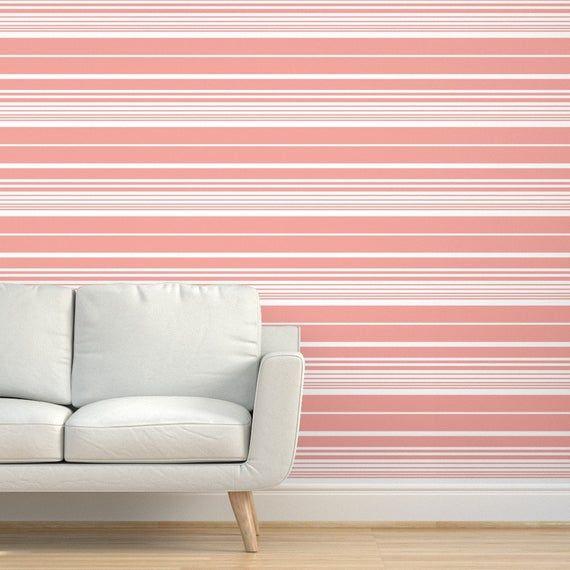Nautical Stripes Wallpaper Scandi Pastel Coral By Studio Etsy Striped Wallpaper Coral Wallpaper Nautical Stripes