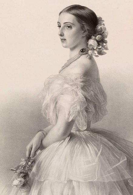"""""""Lithograph of Winterhalter's portrait of Grand Duchess Olga Feodorovna, née Cäcilie Auguste, Princess and Margravine of Baden, wife of Grand Duke Mikhail Nikolaevich, 1857.  According to Gods & Foolish Grandeur, the portrait hung in one of Empress Maria Alexandrovna rooms in the Gatchina Palace (Russia). The portrait has not been seen since WWII and is presumed to be lost.  Gods & Foolish Grandeur"""""""