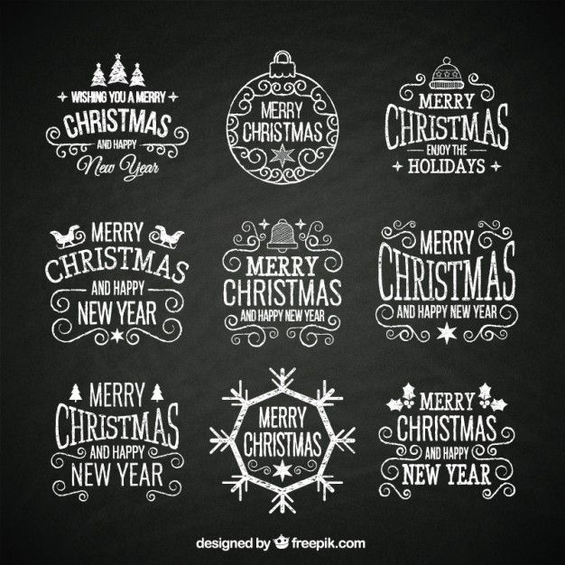 hand drawn retro christmas badges Free Vector