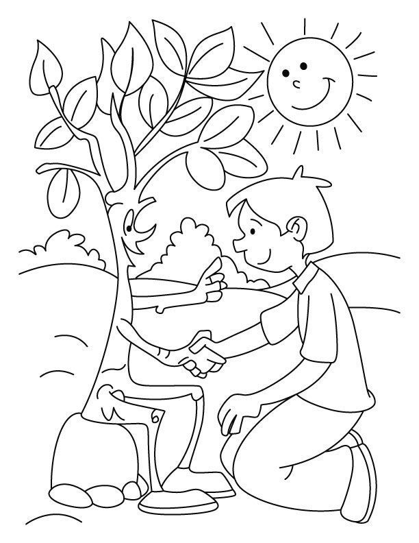 friendly bare tree coloring page ( images)  earth day