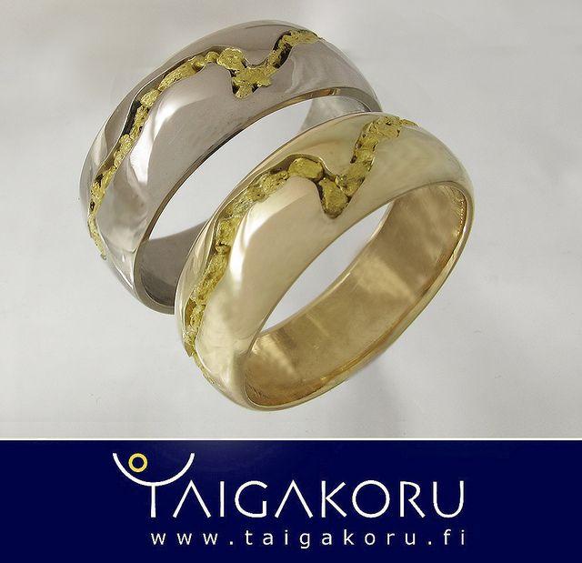 KVS108. Kultahippusormus, kulta , valkokulta. Gold nugget rings, gold, white gold. www.taigakoru.fi | Flickr - Photo Sharing!