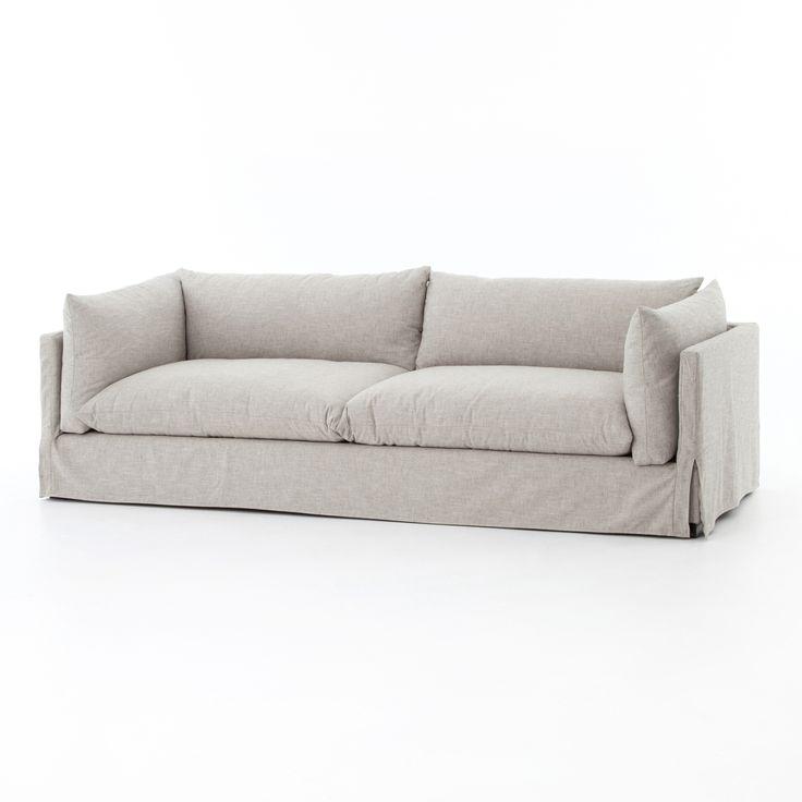 Loft Modern Beige Slipcovered Lounge Sofa 96