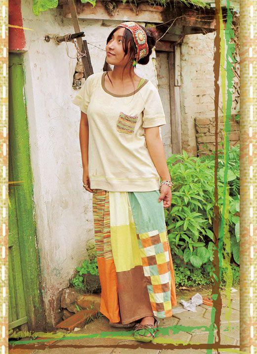 Hammock(ハンモック) サンライズロングスカート Tシャツ生地で気軽に穿ける、パッチワークを使ったフレアロングスカート。